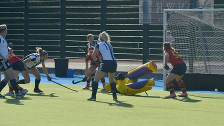 Lily Owsley scores for Hampstead & Westminster against University of Birmingham (pic Iain McAuslan)