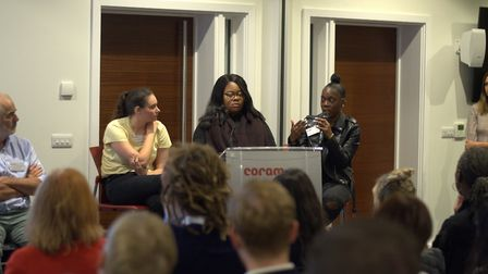 Young women Tia, Marsha and Jemima were also on the panel at Coram. Picture: Coram