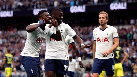 Tottenham Hotspur's Tanguy Ndombele celebrates scoring his side's first goal of the game with his te