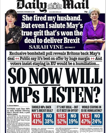 The Daily Mail's front page - what is missing is the survey result stating 48% of people now support
