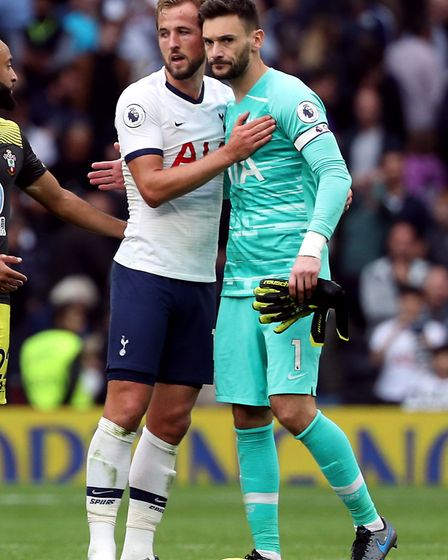 Tottenham Hotspur's Harry Kane and goalkeeper Hugo Lloris (right) after the Premier League match at