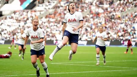 Tottenham Hotspur women's Lucy Quinn scores their second goal of the game during the FA Women's Supe
