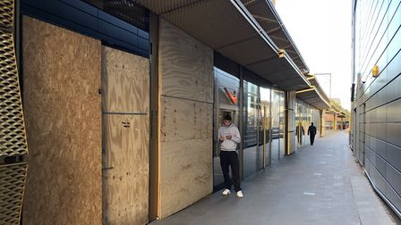 Boarded up commercial units at Hackney Walk. Picture: EMMA BARTHOLOMEW