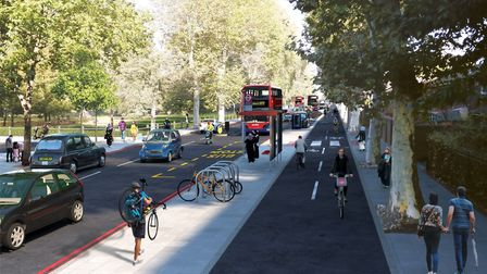 The Hackney to the Isle of Dogs Cycleway - Burdett Rd junction with Agnes Street in Mile End. Pictur
