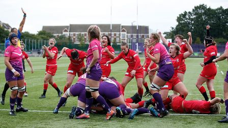 Saracens Women celebrate their winning try, scored by Libby Lockwood, at Loughborough (pic Matt Impe