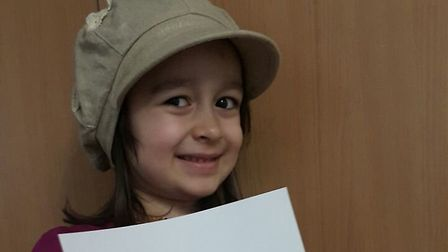 Gabriella, four, holds a letter to Boris Johnson pleading with the foreign secretary to secure Nazan