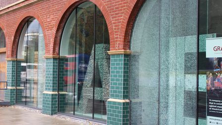 The damage caused to the windows of Graeae Theatre Company. Picture: Graeae Theatre Company
