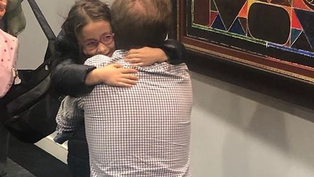 Richard Ratcliffe is reunited with his daughter Gabriella. Picture: Free Nazanin Campaign