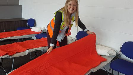 Helena M preparing beds at the rest centre.