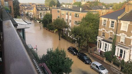 A view of the flooding from Queen's Drive. Picture: Lorraine Pearson