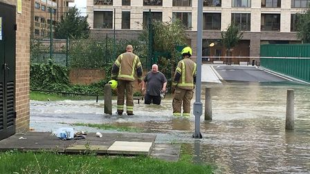 Flooding on the Kings Crescent Estate opposite Clissold Park. Picture: Polly Hancock