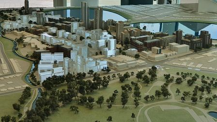 Scale model of massive project to regenerate Woodbury Down estate.