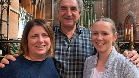 Downton Abbey's Jim Carter with Sherriff Centre bosses Jane Edwards (L) and Steph Duell. Picture: Sh