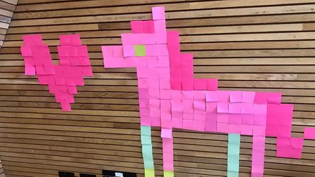 Google held a 'post-it art' workshop for young people at New Horizon. Picture: NHYC