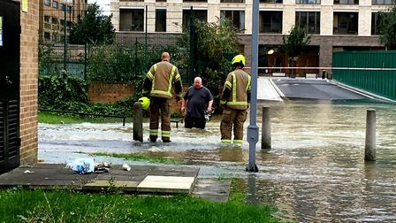 Flooding on the Kings Crescent Estate after a water main burst in Finsbury Park. Picture: Polly Hanc