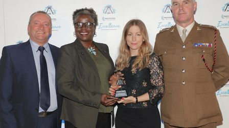 Cllr Carole Williams picks up two awards for Hackney Council at the National Apprenticeship Awards.