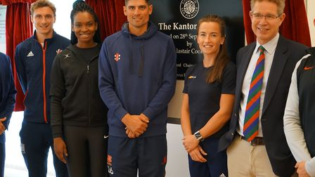 UCS' Head of Sport Ed Sawtell alongside Harry Martin, Jodie Gibson, Sir Alastair Cook, Maddie Hinch