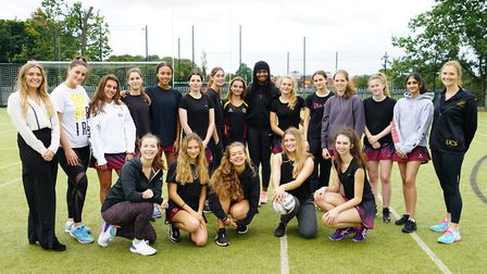 Jodie Gibson with the UCS Hampstead Netball team. Picture: UCS Hampstead
