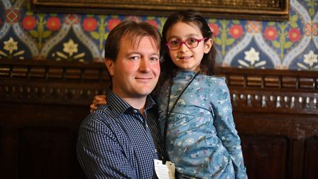 Five-year-old Gabriella Zaghari-Ratcliffe with her father Richard Ratcliffe during a press conferenc