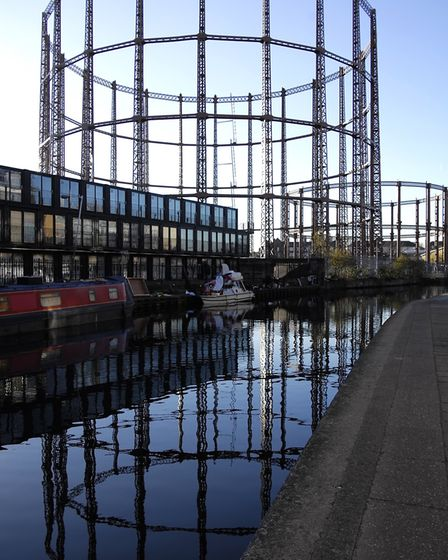 The Bethnal Green gasholders, reflected in the Regent's Canal. Picture: The Gentle Author