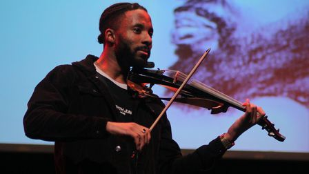 Violinist J Hope was one of several musicians performing on the night. Picture: Shanei Stephenson-Ha