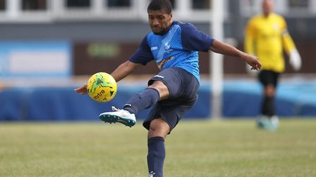 Tanasheh Abrahams of Wingate was sent off against East Thurrock United (Pic: George Phillipou/TGS Ph