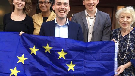 Matt Sanders (centre) with fellow Lib Dems after he was chosen to fight Hampstead and Kilburn at the