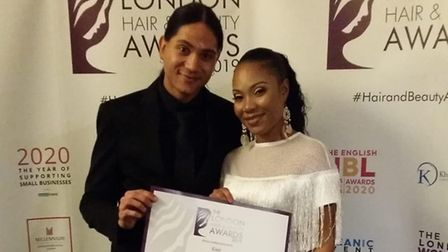 Salon owner Vee Vickers and hair stylist Jerome Payne who has worked at the salon for 5 years and ha