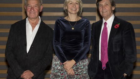 English Heritage's Anna Eavis with historian Simon Schama and broadcaster Melvyn Bragg. Picture: Luc