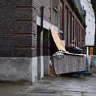 A rough sleeper in West Hampstead, where some of north London's wealthiest rub shoulders with some o