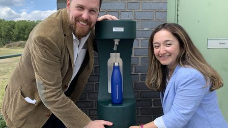 Cllr Jon Burke and deputy mayor Feryal Clark by one of the new water fountains. Picture: Hackney Cou
