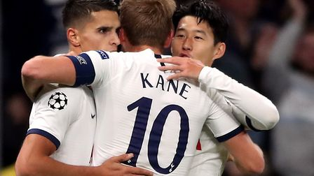 Tottenham Hotspur's Son Heung-min (no.7) celebrates scoring his side's second goal of the game with