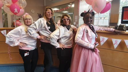 Daubeney Primary School's ladies in pink. Picture: Holly Chant
