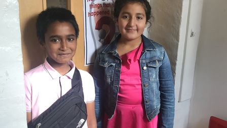 Year 6 students: Hind (right) and Sufyan who is on the school counciil and charity team. Picture: Ho