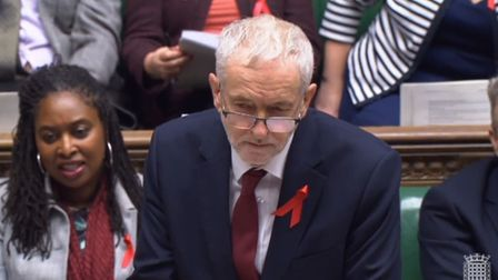 Labour party leader Jeremy Corbyn speaks during PMQs Photo: PA
