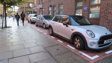 The car parking spaces outside the school. Picture: @Hackneycyclist
