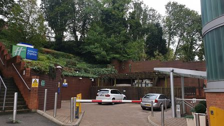 The area behind Holiday Inn Express in Finchley Road, where the hotel is looking to build an extensi