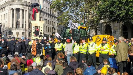 Police and protesters in Trafalgar Square. Picture: Joe Giddings