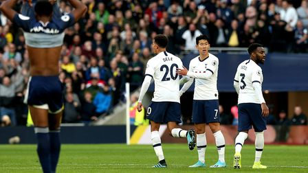 Tottenham Hotspur's Dele celebrates scoring his side's goal against Watford. Picture: Jonathan Brady