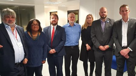 (L to R) Ian Marchant, Thames Water chairman, Diane Abbott MP, Cllr Andy Hull, Jeremy Corbyn MP, Cll