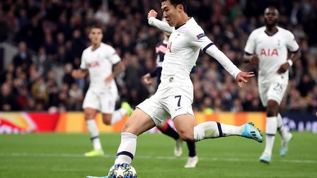 Tottenham Hotspur's Son Heung-min scores his side's third goal of the game during the UEFA Champions