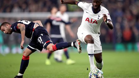 Tottenham Hotspur's Tanguy Ndombele gets past Red Star Belgrade's Jose Alberto Canas during the UEFA