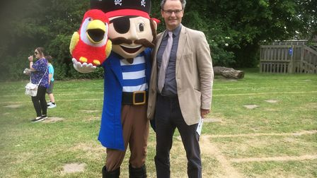 Waveney MP Peter Aldous and Pirate Pete at the Gunton Primary Academy school fete. Pictures: Mark Bo