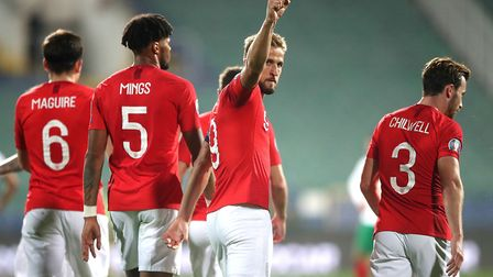England's Harry Kane gestures during the UEFA Euro 2020 Qualifying match at the Vasil Levski Nationa