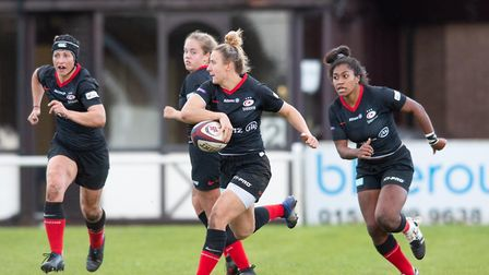 Sarah McKenna attacks for Saracens Women (pic Marek Dorcik)