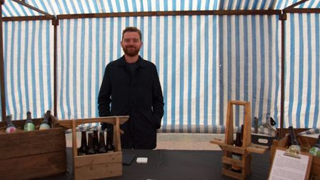 Michael Stankard and some of the beers he sells at his stall in Chatsworth Road Market, lower Clapto