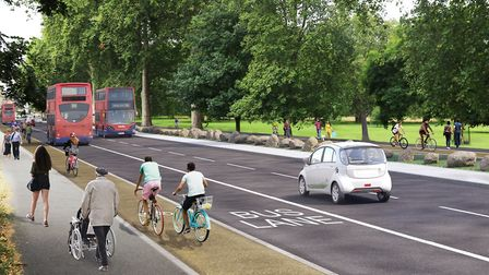 An artist's impression of the new segregated lanes by Millfields Park. Picture: TfL