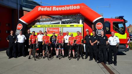 Wrentham firefighters and Suffolk Fire and Rescue Service colleagues at the end of the fundraising F