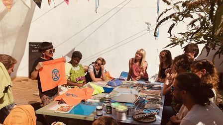 """A block printing workshop in the """"garden of earthly delights"""" in Graham Road. Picture: Extinction Re"""
