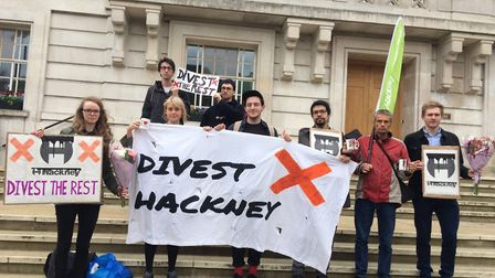 Protesters outside Hackney Town Hall. Picture: Divest Hackney